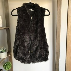 Maurices Black Furry Fuzzy Vest